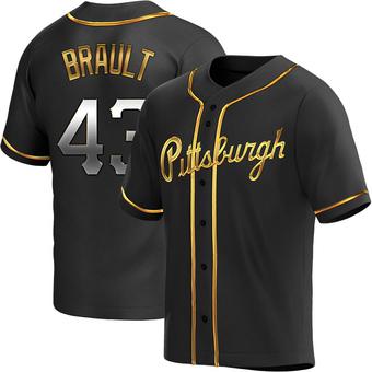 Youth Steven Brault Pittsburgh Black Golden Replica Alternate Baseball Jersey (Unsigned No Brands/Logos)