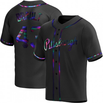 Youth Steven Brault Pittsburgh Black Holographic Replica Alternate Baseball Jersey (Unsigned No Brands/Logos)