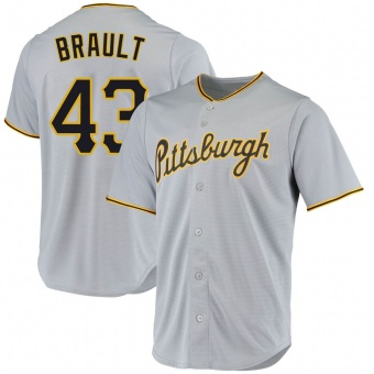 Youth Steven Brault Pittsburgh Gray Replica Road Baseball Jersey (Unsigned No Brands/Logos)