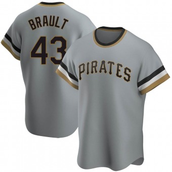 Youth Steven Brault Pittsburgh Gray Replica Road Cooperstown Collection Baseball Jersey (Unsigned No Brands/Logos)