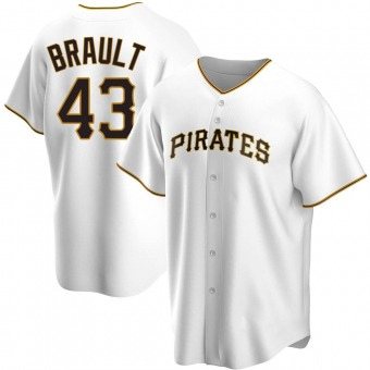 Youth Steven Brault Pittsburgh White Replica Home Baseball Jersey (Unsigned No Brands/Logos)