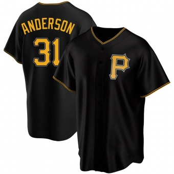 Youth Tyler Anderson Pittsburgh Black Replica Alternate Baseball Jersey (Unsigned No Brands/Logos)