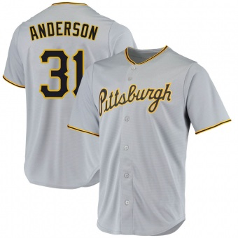 Youth Tyler Anderson Pittsburgh Gray Replica Road Baseball Jersey (Unsigned No Brands/Logos)