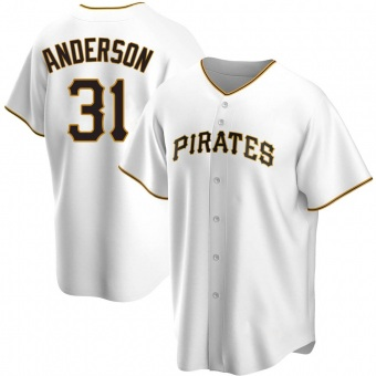 Youth Tyler Anderson Pittsburgh White Replica Home Baseball Jersey (Unsigned No Brands/Logos)